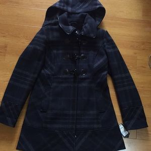 NWT Guess plaid coat with detachable hood